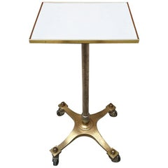 Italian Midcentury Brass and Laminates Top High Table with Wheels, 1950s