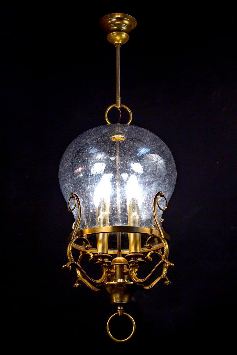 Italian Midcentury Brass and Light Blue Murano Glass Lantern For Sale 8