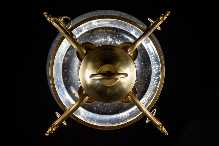 Italian Midcentury Brass and Light Blue Murano Glass Lantern For Sale 9