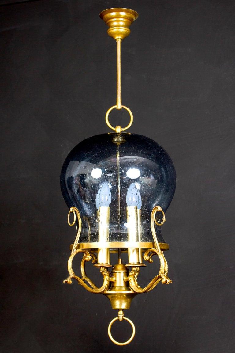 Mid-Century Modern Italian Midcentury Brass and Light Blue Murano Glass Lantern For Sale