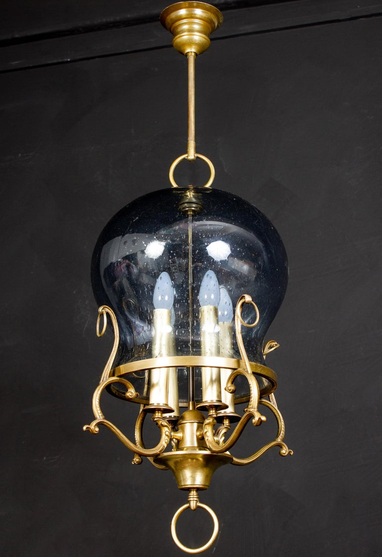 Italian Midcentury Brass and Light Blue Murano Glass Lantern In Excellent Condition For Sale In Rome, IT