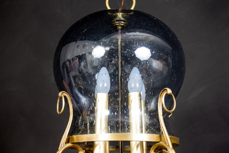Italian Midcentury Brass and Light Blue Murano Glass Lantern For Sale 1
