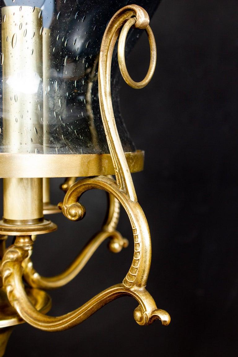 Italian Midcentury Brass and Light Blue Murano Glass Lantern For Sale 2