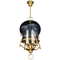 Italian Midcentury Brass and Light Blue Murano Glass Lantern