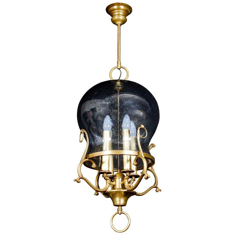 Italian Midcentury Brass and Light Blue Murano Glass Lantern For Sale