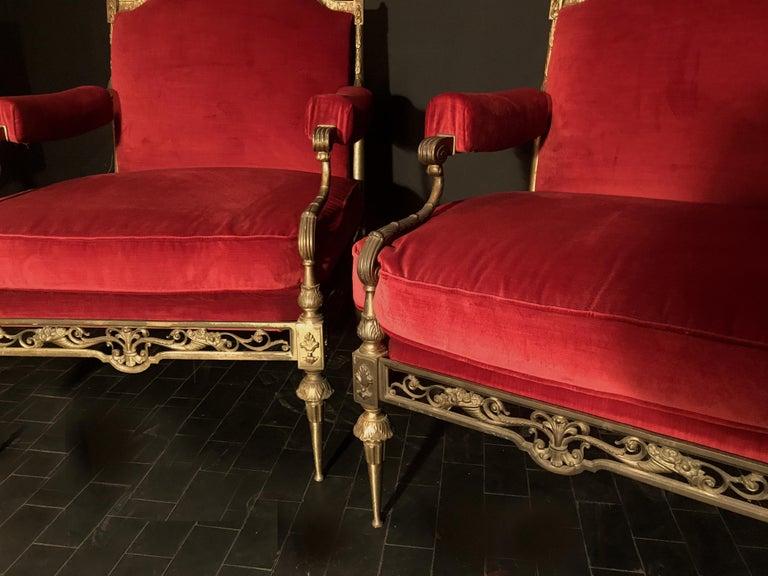 Italian Midcentury Brass and Red Velvet Living Room Set, 1950 For Sale 5