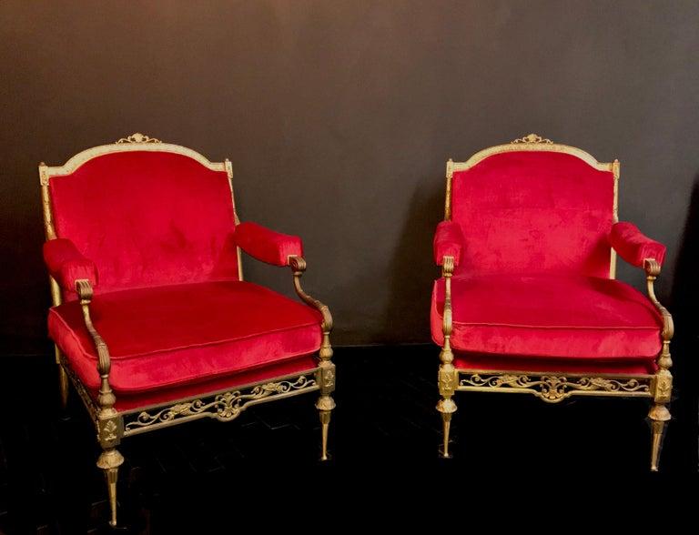 Louis XVI Italian Midcentury Brass and Red Velvet Living Room Set, 1950 For Sale