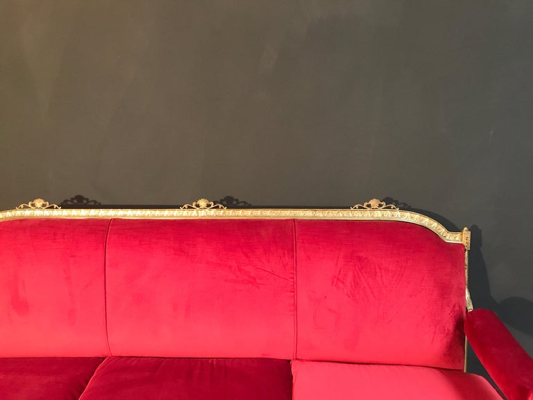 Italian Midcentury Brass and Red Velvet Living Room Set, 1950 In Good Condition For Sale In Rome, IT