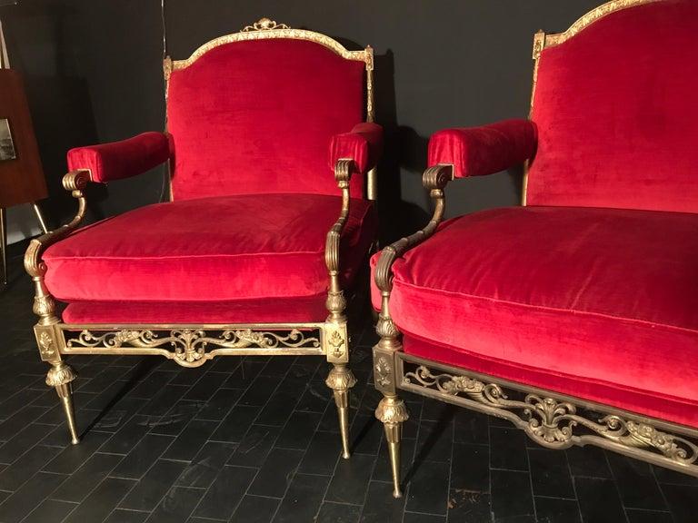 20th Century Italian Midcentury Brass and Red Velvet Living Room Set, 1950 For Sale
