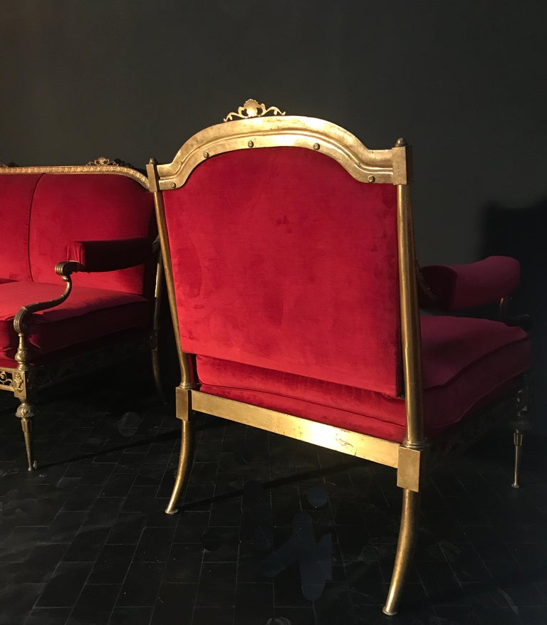 Italian Midcentury Brass and Red Velvet Living Room Set, 1950 For Sale 2