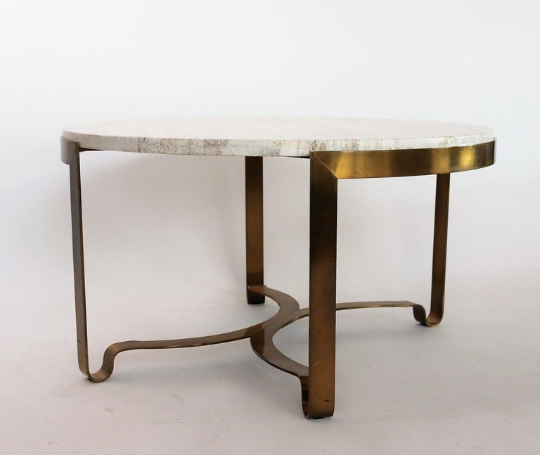 Mid Century Brass Marble Round Coffee Table: Italian Mid-century Brass And Travertine Marble Coffee