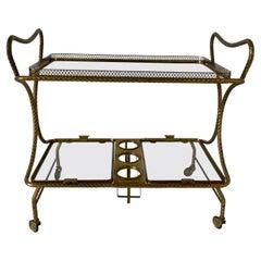 Italian Mid-Century Brass Bar Cart, 1950s