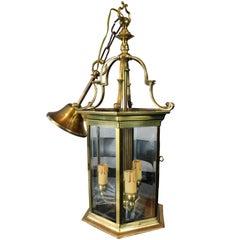 Italian Midcentury Brass Lantern, 1940s