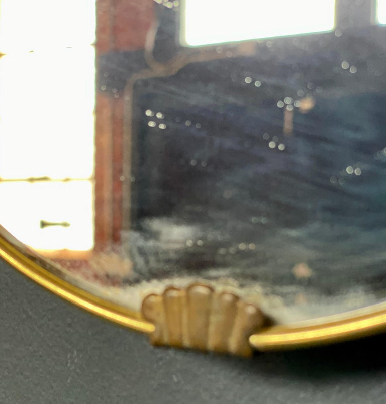 Italian Midcentury Brass Oval Mirror, 1950s For Sale 1