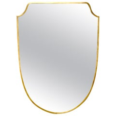 Italian Midcentury Brass Shield Shaped Mirror