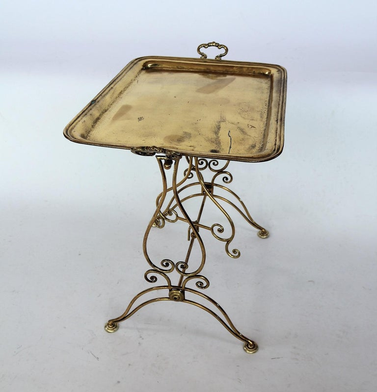 Italian Midcentury Brass Side Table or Tray Table, 1950s For Sale 5