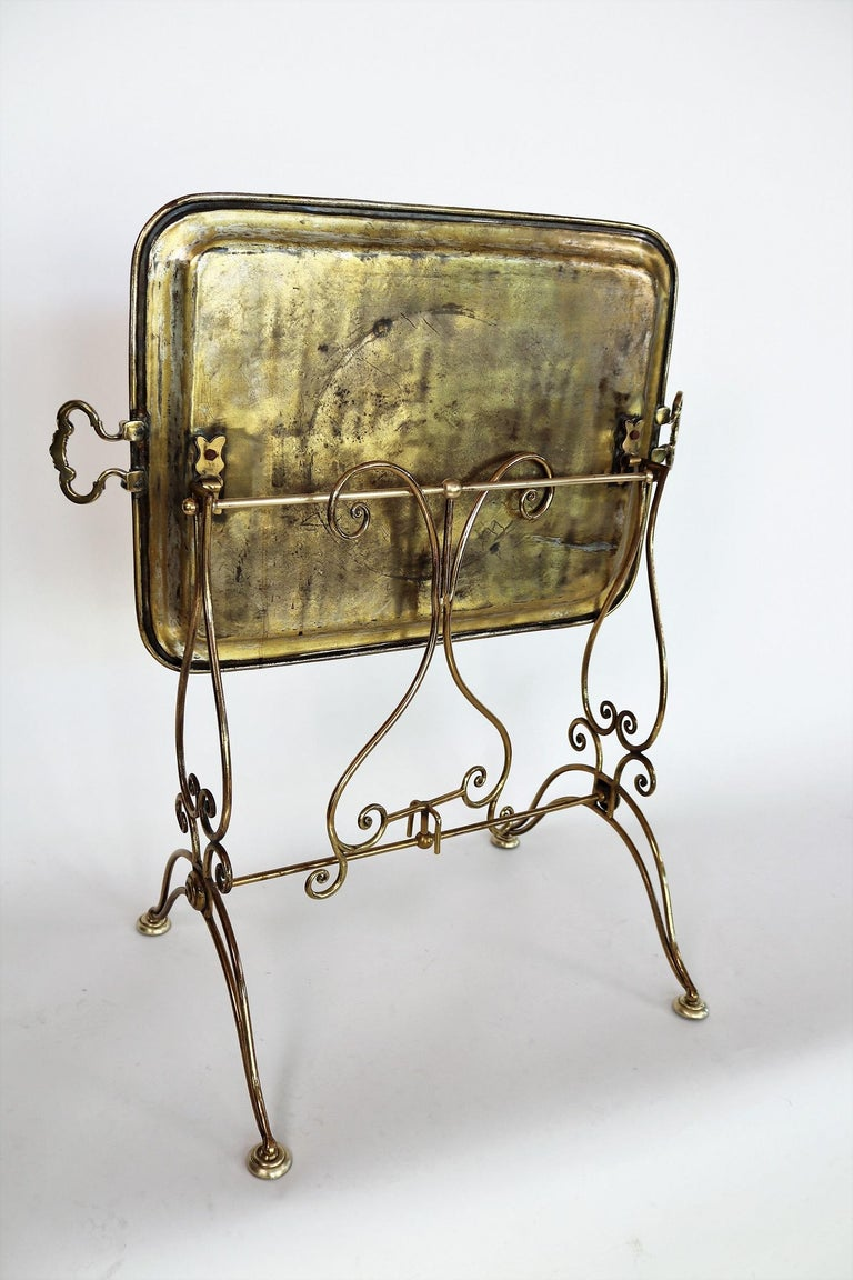 Italian Midcentury Brass Side Table or Tray Table, 1950s For Sale 6