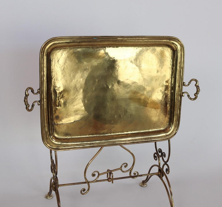 Italian Midcentury Brass Side Table or Tray Table, 1950s For Sale 9