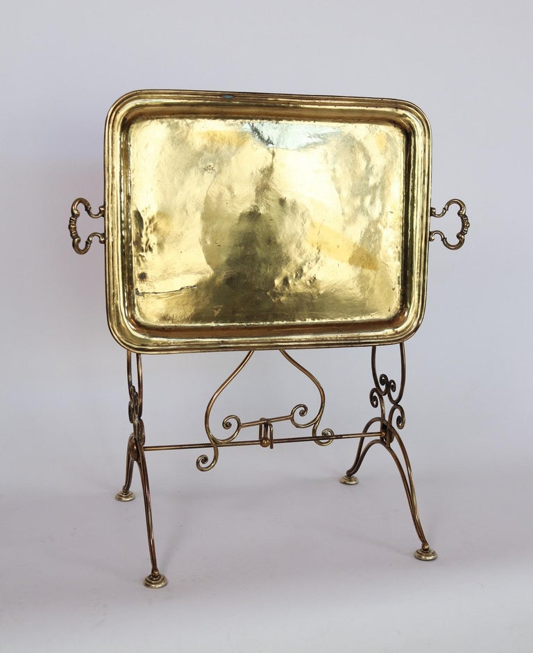 Gorgeous small side table or tray table made of full shiny brass, Italy, 1950s.