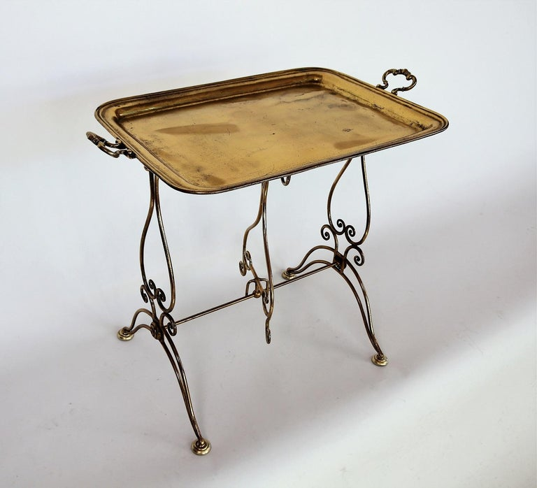 Mid-Century Modern Italian Midcentury Brass Side Table or Tray Table, 1950s For Sale