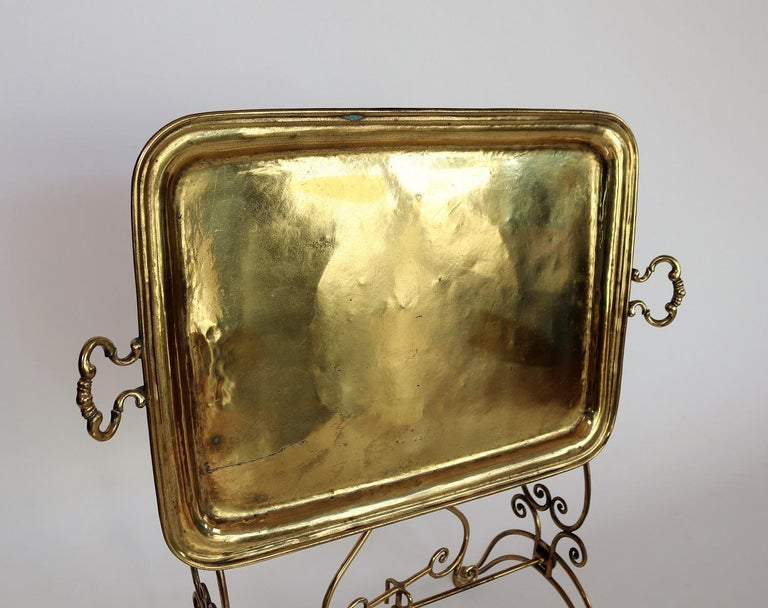 Polished Italian Midcentury Brass Side Table or Tray Table, 1950s For Sale
