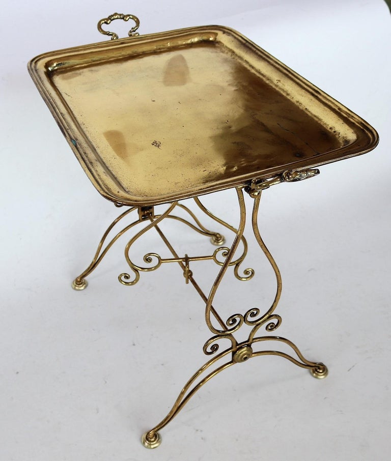 Italian Midcentury Brass Side Table or Tray Table, 1950s For Sale 3