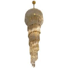Italian Midcentury Brass Spiral Glass Chandelier