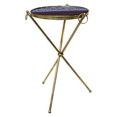 Italian Midcentury Brass Structure and Blue Glass Tray Table, 1950s