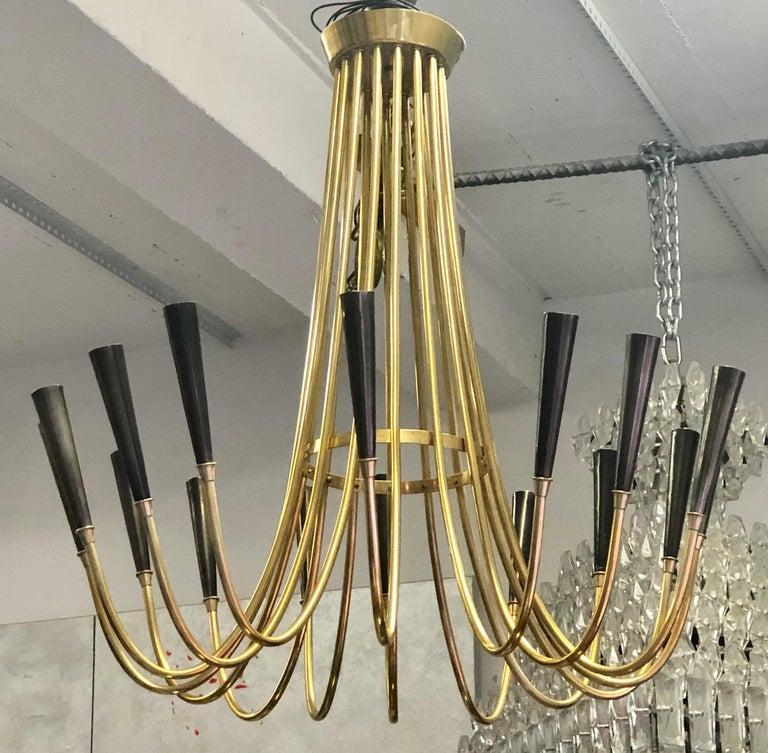 Mid-Century Modern Italian Midcentury Brass Sunburst Chandelier Attributed to Guglielmo Ulrich For Sale