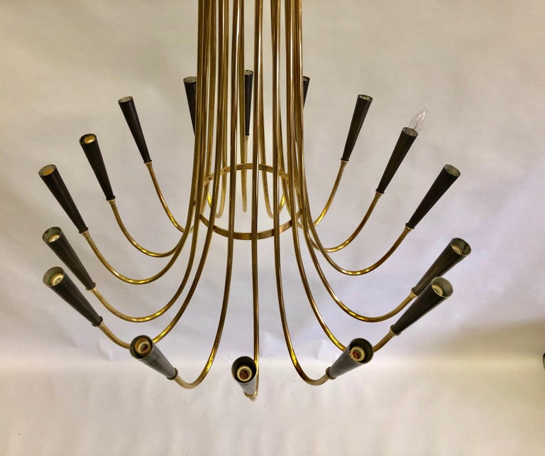 Mid-20th Century Italian Midcentury Brass Sunburst Chandelier Attributed to Guglielmo Ulrich For Sale