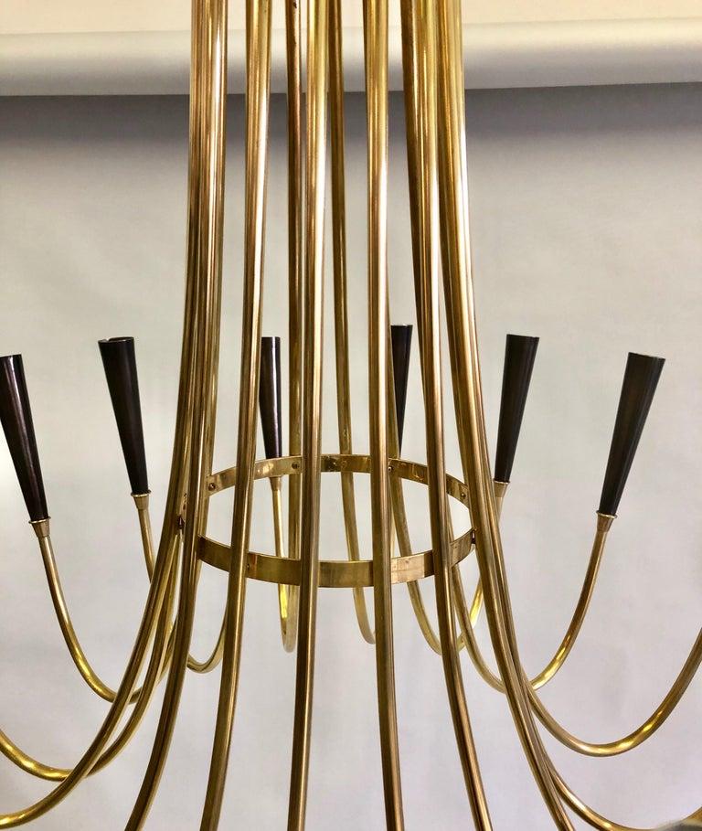 Italian Midcentury Brass Sunburst Chandelier Attributed to Guglielmo Ulrich For Sale 1