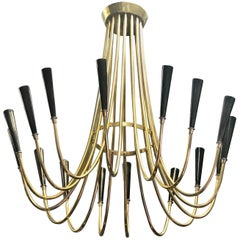 Italian Midcentury Brass Sunburst Chandelier Attributed to Guglielmo Ulrich