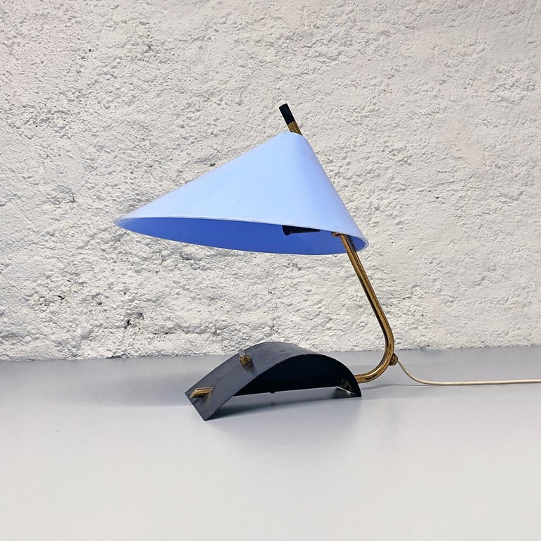 Italian Mid-Century Brass Table Lamps with Blue Lampshade by Stilnovo, 1950s For Sale 5