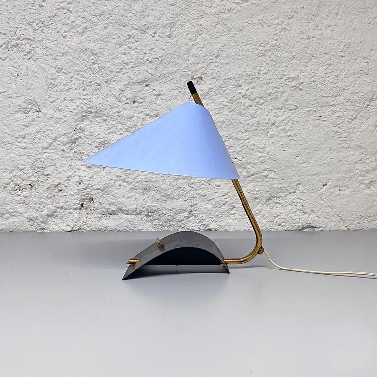 Italian Mid-Century Brass Table Lamps with Blue Lampshade by Stilnovo, 1950s For Sale 7