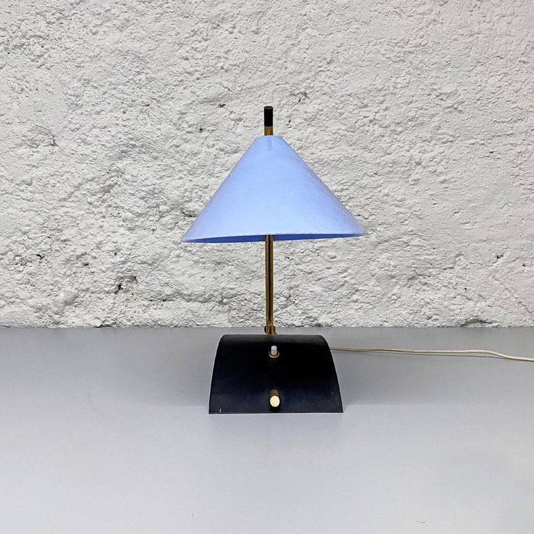 Italian Mid-Century Brass Table Lamps with Blue Lampshade by Stilnovo, 1950s For Sale 8