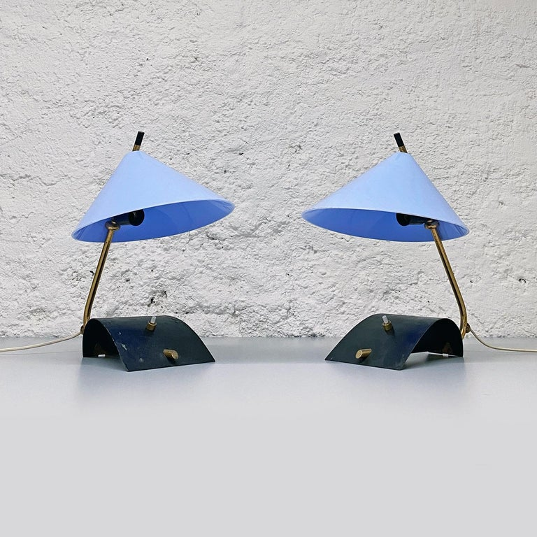 Italian mid-century brass table lamps with blue lampshade by Stilnovo, 1950s  Brass and plastic table lamps with brass base and blue plastic lampshade. Produced by Stilnovo.  Measures: 29 x 20 x 33 H cm.