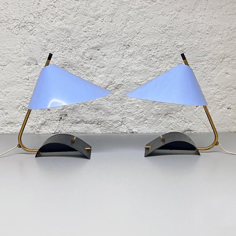 Mid-Century Modern Italian Mid-Century Brass Table Lamps with Blue Lampshade by Stilnovo, 1950s For Sale