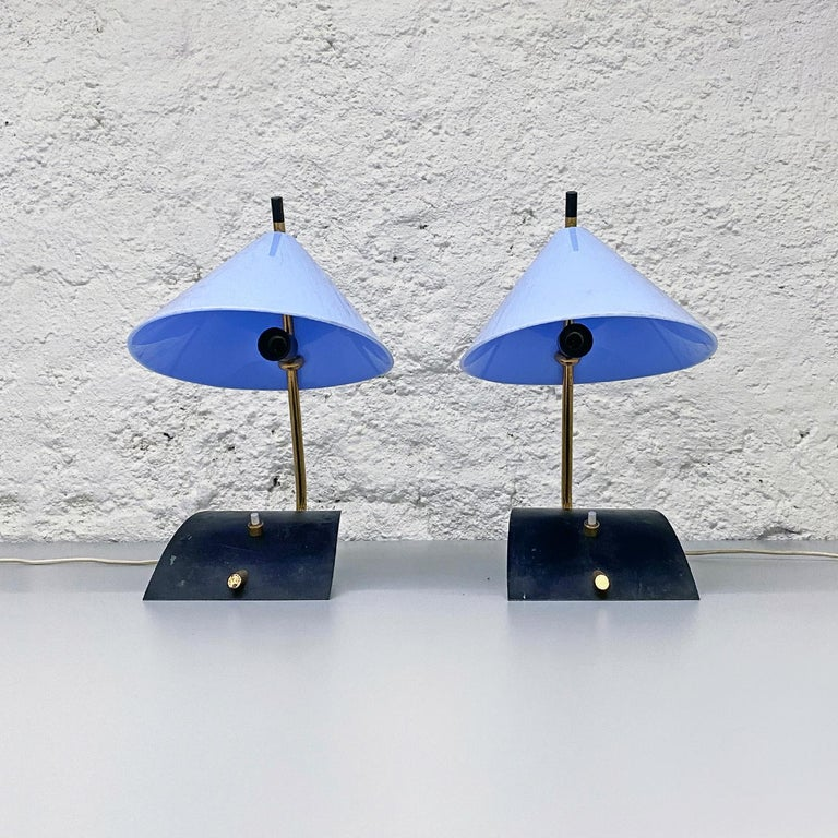Italian Mid-Century Brass Table Lamps with Blue Lampshade by Stilnovo, 1950s In Good Condition For Sale In MIlano, IT