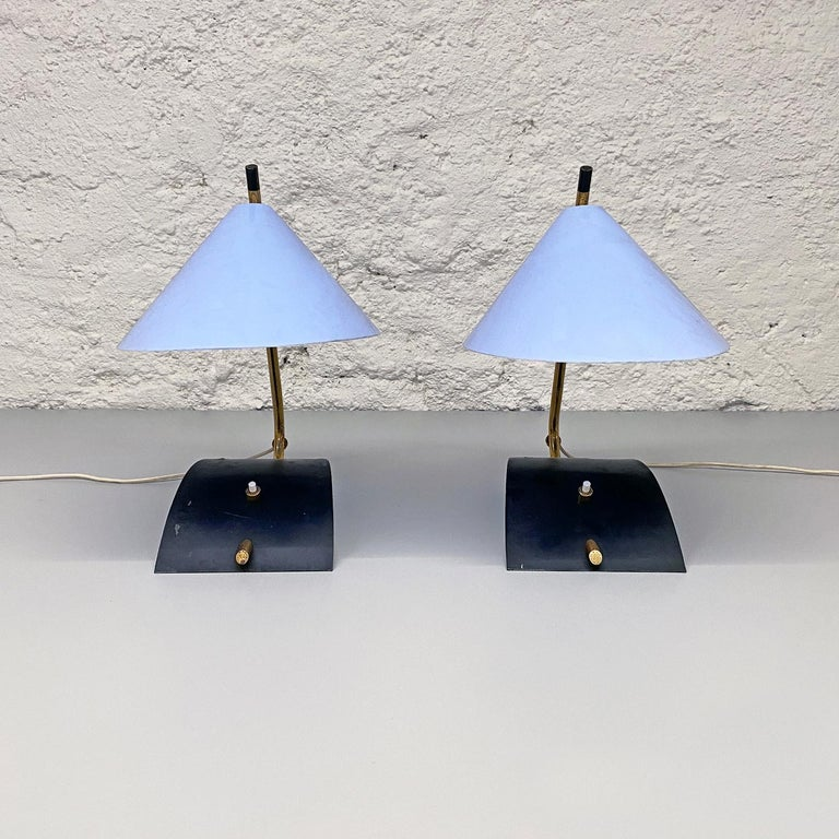 Mid-20th Century Italian Mid-Century Brass Table Lamps with Blue Lampshade by Stilnovo, 1950s For Sale