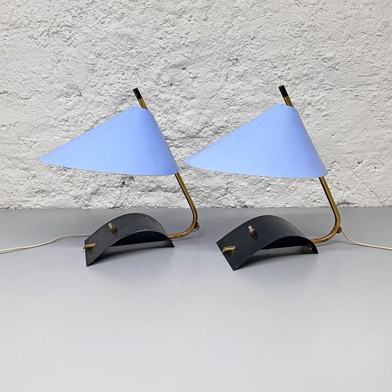 Metal Italian Mid-Century Brass Table Lamps with Blue Lampshade by Stilnovo, 1950s For Sale