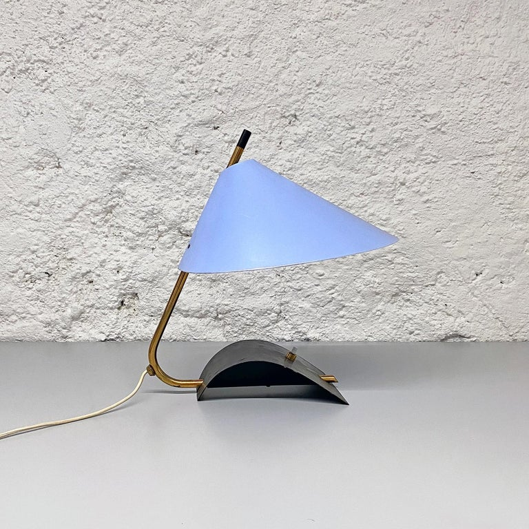 Italian Mid-Century Brass Table Lamps with Blue Lampshade by Stilnovo, 1950s For Sale 3