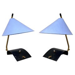 Italian Mid-Century Brass Table Lamps with Blue Lampshade by Stilnovo, 1950s