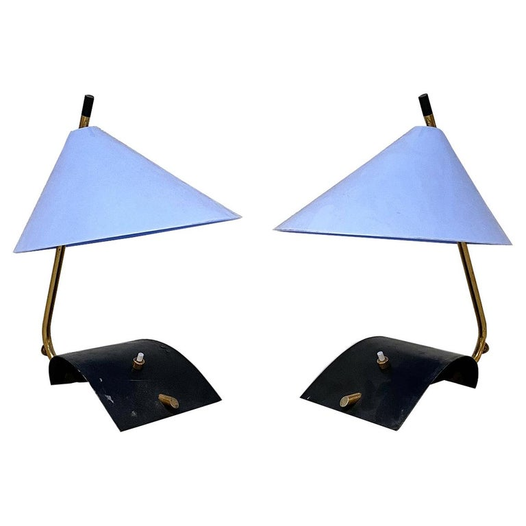 Italian Mid-Century Brass Table Lamps with Blue Lampshade by Stilnovo, 1950s For Sale