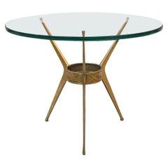 Italian Mid-Century Brass Three-Legged Coffee Table with Green Glass, 1950s