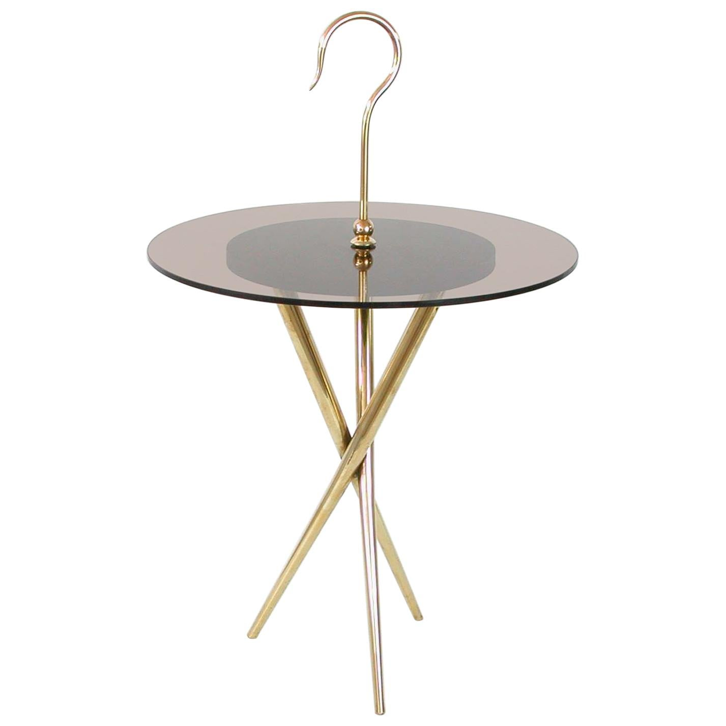 Italian Midcentury Brass and Tinted Glass Occasional Table, 1950s