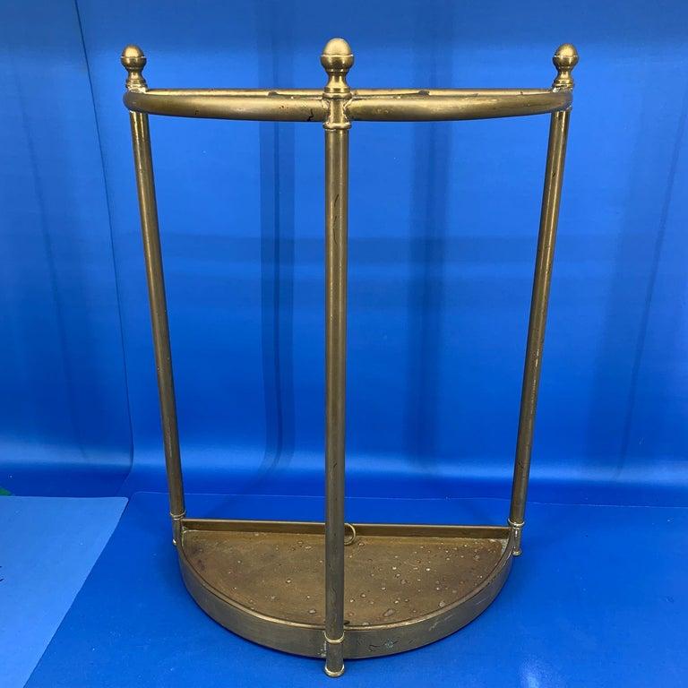 Italian Mid-Century Modern Brass Umbrella Stand For Sale 11