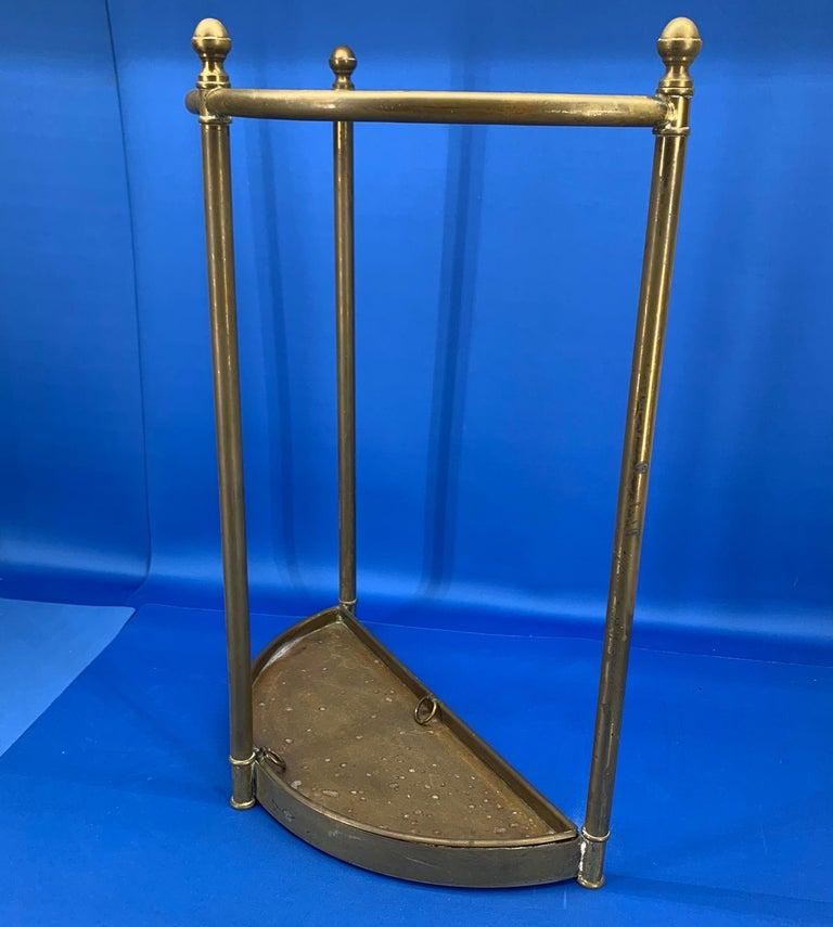 Italian Mid-Century Modern Brass Umbrella Stand For Sale 12