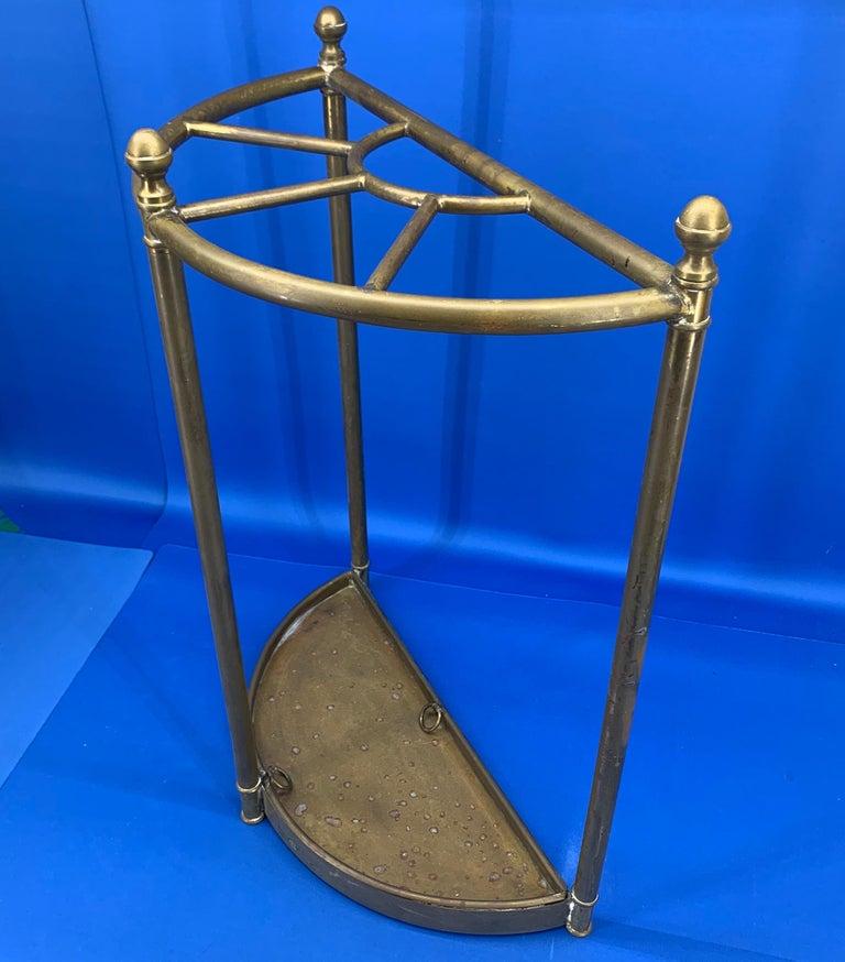 Italian Mid-Century Modern Brass Umbrella Stand For Sale 13