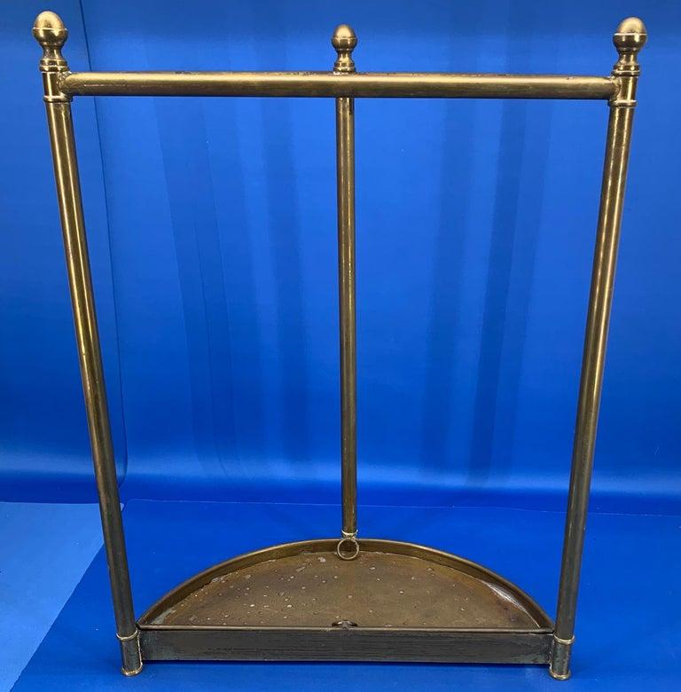 Italian Mid-Century Modern Brass Umbrella Stand For Sale 14