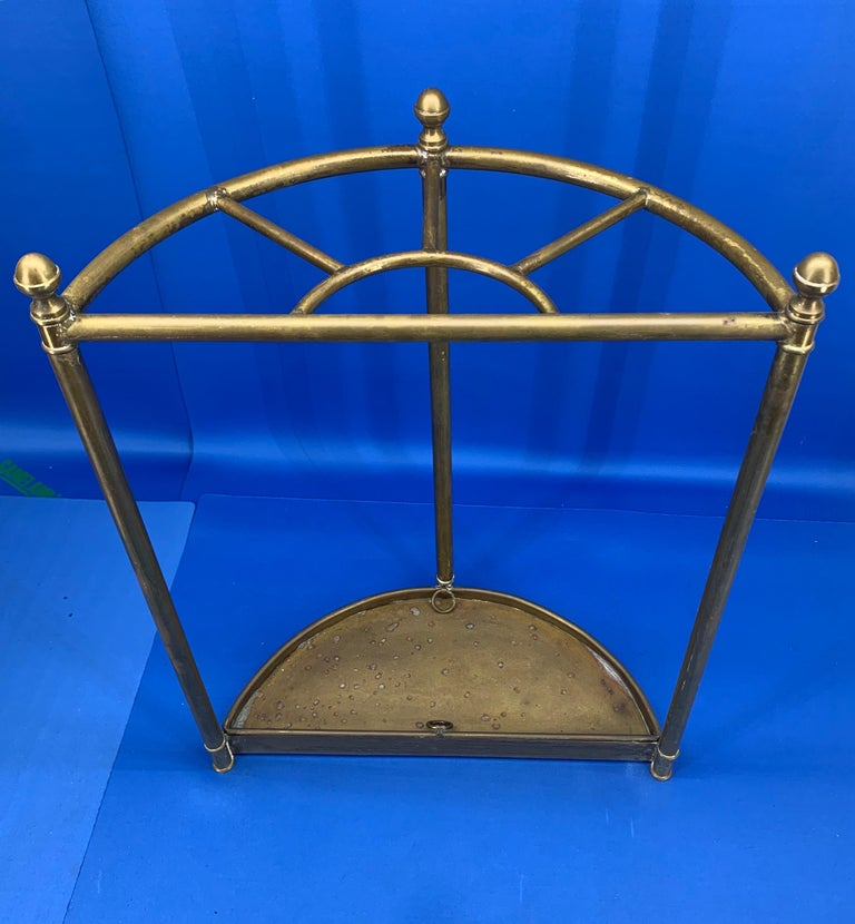 Italian Mid-Century Modern Brass Umbrella Stand For Sale 15